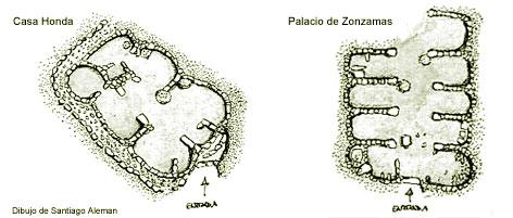 Planta de una casa honda y del Palacio de Zonzamas, ilustraciones de Santiago Alemán