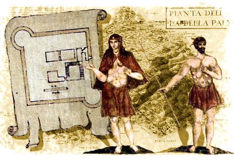 Fortaleza de Las Palmas de Gran Canaria y pareja de gomeros, con mapa de La Palma al fondo, todo ello dibujado por Torriani