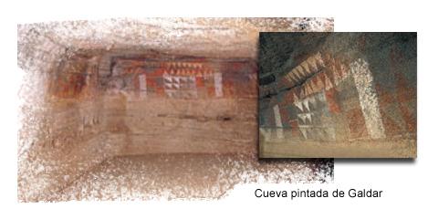 Interior y detalle de la Cueva Pintada de Gáldar, en Gran Canaria