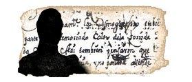 Silueta enigmática, con fragmento manuscrito de la obra al fondo