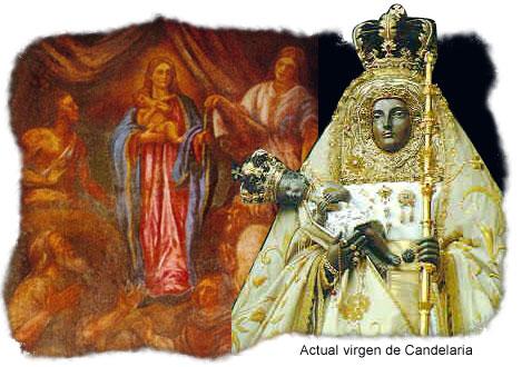 Actual Virgen de Candelaria, con pintura de antiguos isleños adorándola al fondo