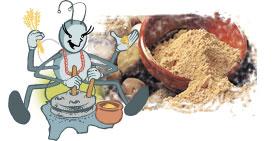 Luciérnaga Chuyú usando un molino de mano, con gánigo lleno de gofio al fondo