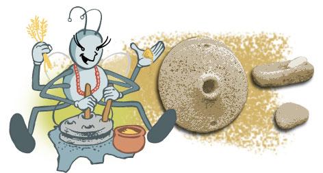 Chuyú usando un molino de mano, con otros tipos de molinos manuales de piedra al fondo