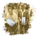 Ancianos isleños tocando tambores