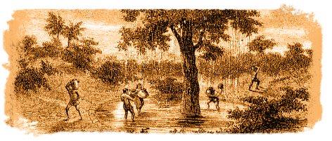 Grabado del Garoé, con isleños recogiendo agua de sus albercas