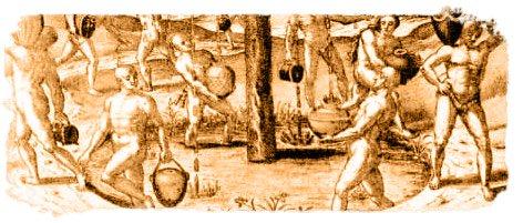 Detalle de un grabado del Garoé, con isleños recogiendo su agua