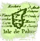 Isla de La Palma en un mapa antiguo de Canarias