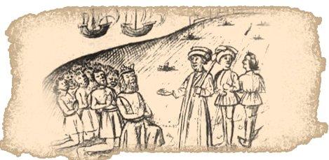 Guadarfía se rinde a Béthencourt en un grabado de Le Canarien