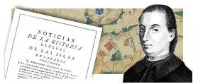 Portada del libro y retrato de Viera y Clavijo, con mapa antiguo de Canarias al fondo