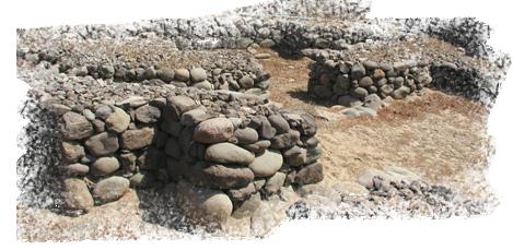 Restos de algunas casas de piedra en Gáldar, Gran Canaria